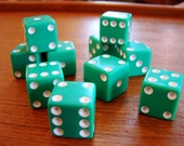 Vintage 1950's Green Acrylic Game Dice, Set of 10, 5 Pairs, Retro Gambling Dice, 120 Dice Available