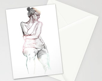 """5 x 7 Blank Card with Envelope Feminine Figure Drawing 
