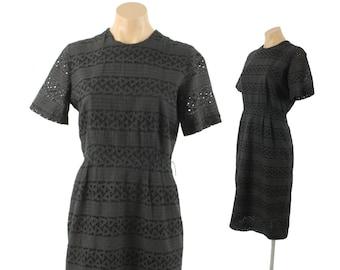 Vintage 50s Eyelet Lace Dress LBD Black Cotton Short Sleeve Dress Wiggle Dress Womens Fashion 1950s Medium M Ann Bradley Day Dress
