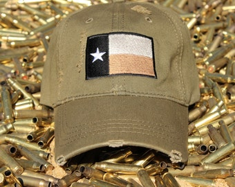 Distressed Texas Flag Hat. (OD Green)