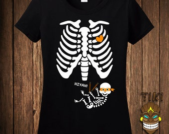 Funny Pregnant Skeleton Ninja Halloween Costume T-shirt Tee Shirt Pregnancy Maternity Trick Or Treat Treating Party Womens Ladies