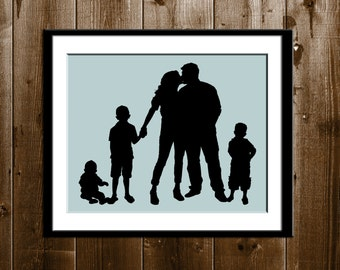 Custom Silhouette Portrait from your Photo, Family of 5 Silhouette Wall Decor, Silhouette Print, Parents and Children Silhouette Print
