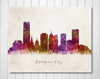 Oklahoma City  Skyline ,purple Digital Watercolor Art Print. Modern Home Decor NO239