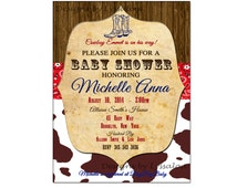 Cowboy Baby Shower Invitation, Western Baby Shower Invitation,Vintage Western Baby Shower Invitation - Cowgirl - Cowboy - Baby Shower