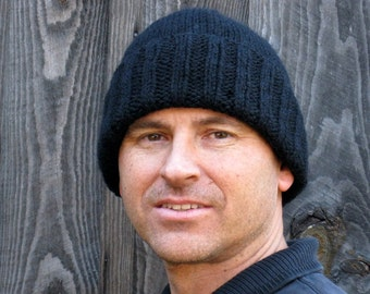 Men's black wool hat