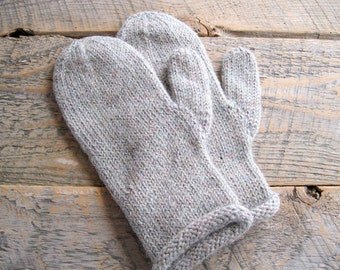 Womens gray mittens hand knit with alpaca