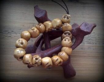Skull Beads, Wooden Skull Beads, Skull Bracelet, Skull Bead Bracelet, Gothic jewelry