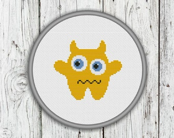 Cute Yellow Monster Counted Cross Stitch - PDF, Instant Download