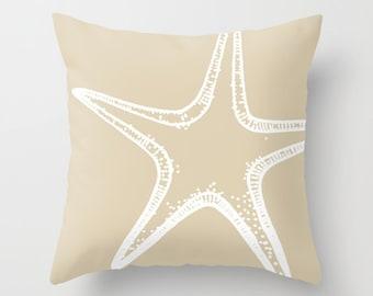 Starfish Pillow Cover - Tan  - Sea Life Nautical Home Decor - Beach House - includes insert