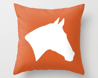 horse pillow cover orange equestrian rustic decor accent pillow decorative pillow - Horses Head Pillow
