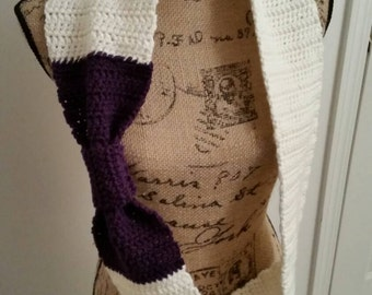 Purple and Cream Crocheted Bow Scarf