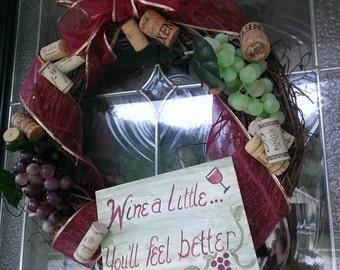 wine wreath, grapevine wreath, wine cork wreath