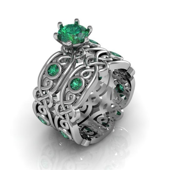 celtic ring created emerald sterling silver by