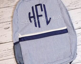 Backpack with Monogram, Seersucker Diaper Bag, Seersucker School Bag, Seersucker Bag, Diaper Bag, School Bag, Book Bag, Backpack