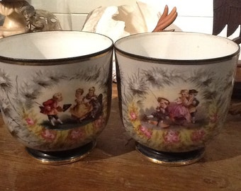 Set of two china flowerpots holders
