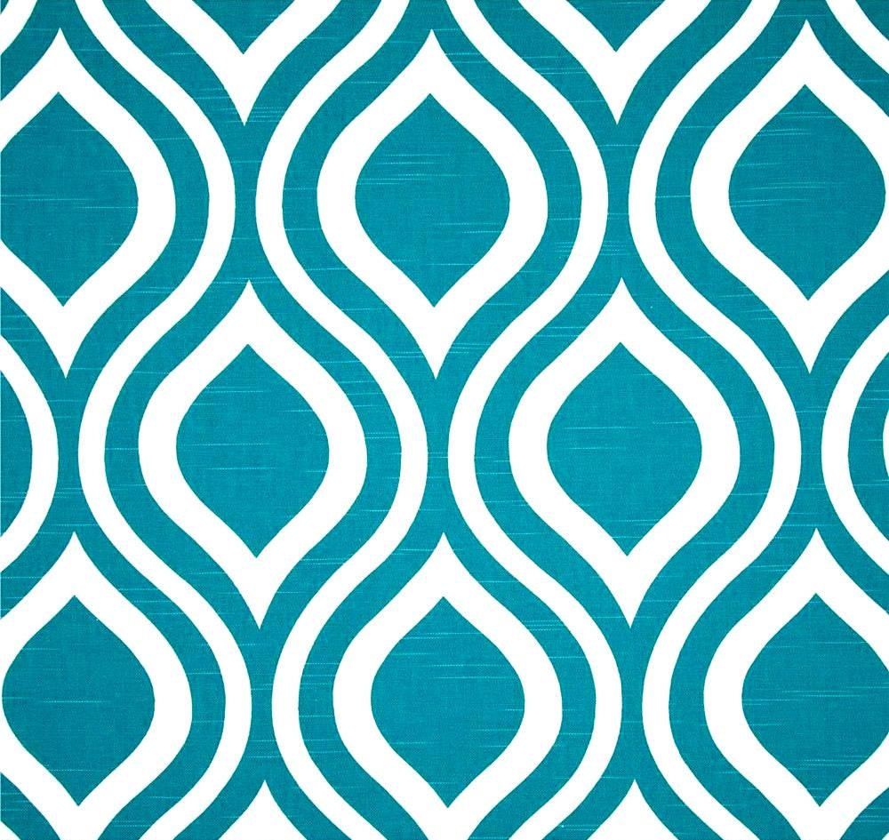 Tropical Blue Geometric Home Decor Fabric By The By