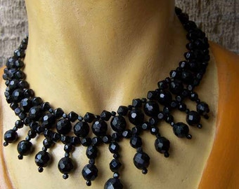 Vintage 40's Jet Black Crystal Necklace