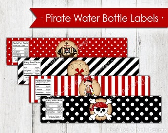 Pirate Water Bottle Wrappers - Instant Download