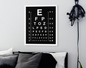 Eye Chart Print Modern Art Black and White Decor Eyechart Oculist Chart Art Old Sign Poster Vintage Inspired Eye Chart Black Canvas Look