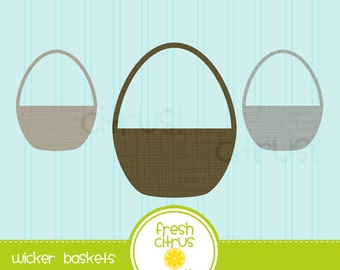 Wicker Baskets Clip Art