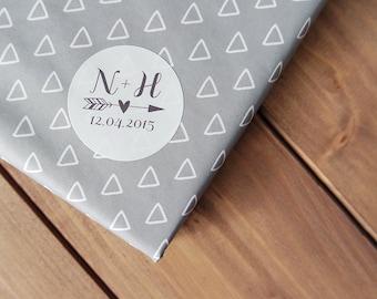 24 Custom Wedding Stickers Initials Date Arrow Heart Save The Date Envelope Seals 40mm / Wedding Favor / 204