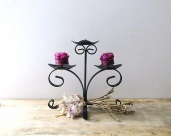 Candelabra, Black Wrought Iron Candelabra, Metal Candle Holder, Tiered Candelabra, Votive Candle Holder, Pillar Candle Holder