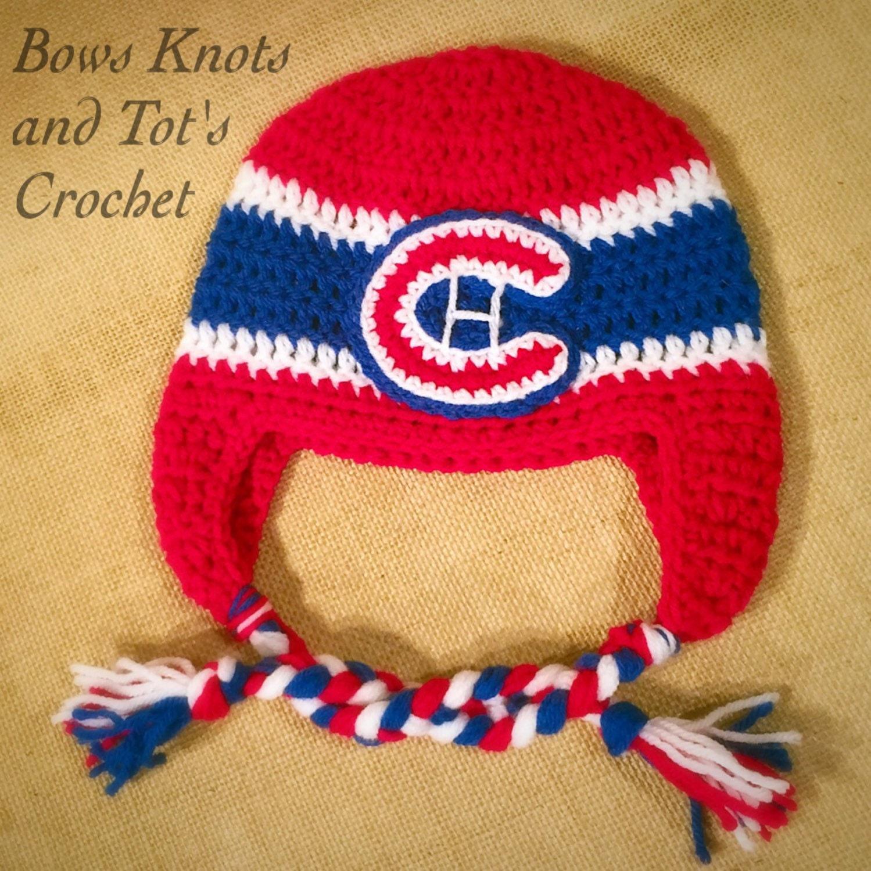 Crochet Beanie Hat With Ear Flaps Pattern : Montreal Canadiens hat Canadiens crochet hat with ear flaps