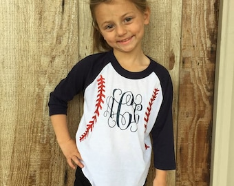 Monogrammed Baseball Quarter Sleeves