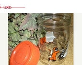Fall Clearance 40% Off Vintage Glass Canister RARE Carlton Glass Halloween Canister Trick or Treat Candy Jar Fall Home Decor Orange White Bl