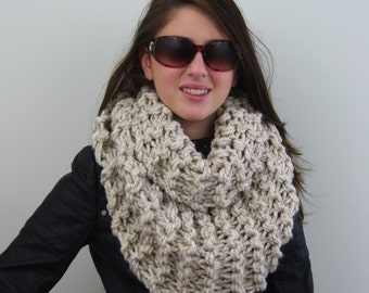 Hand-knitted Chunky Twisted Infinity Cowl Scarf in Wheat