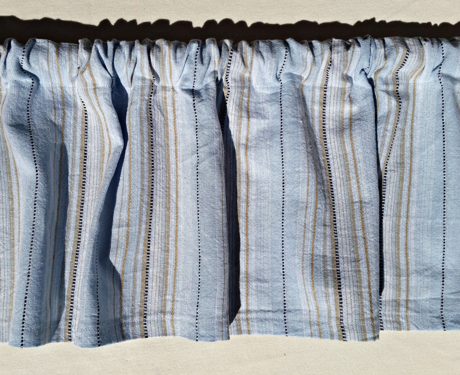 grey blue tan striped kitchen valance curtain. Black Bedroom Furniture Sets. Home Design Ideas