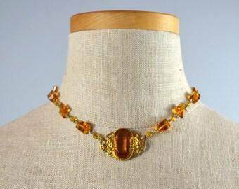 Phoenix | Vintage 20s-30s Czech Amber Glass & Gilt Necklace | 1920s-1930s Art Deco Choker