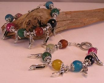 Shoe Charm Bracelet, Charm Bracelet, Shoe Charm, Gemstone Bracelet, Bead Bracelet Women, Stone Bead Bracelet, Colorful Bracelet