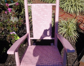 Antique Pink Wicker Rocker/Vintage Rocker/Farmhouse Rocker/Hand Woven Wicker Rocker
