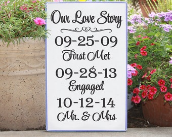 Love Story Wedding Date Wood Sign / Hand painted Wedding Keepsake with First Met, Proposal, and Wedding Dates