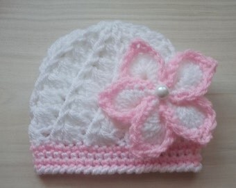 Newborn girl hat,white baby hat, flower baby beanie, crochet baby hat, girl hospital hat, baby girl props,take home outfit, shower gift