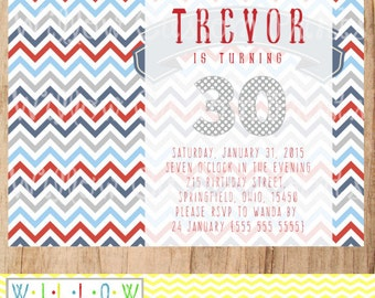 ADULT MALE BIRTHDAY Invitation Nautical 30th Birthday Chevron Red Blue Gray