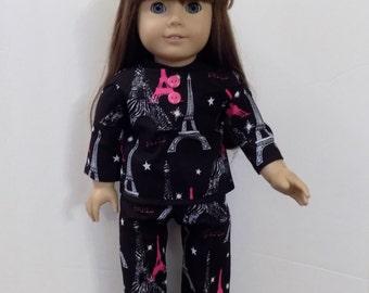 Black & Pink Paris Pajamas.  American Girl Doll Sized . #02