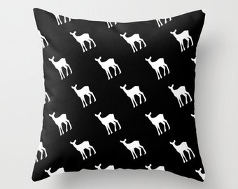 Black And White Deer Pillow Cover, Scandinavian pillow cover, animal pillow cover, rustic chic pillow, black pillow cover, choose color