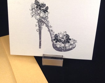 Shoe folded note cards - Box of 8 -  thank you notes