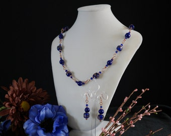 Mystic Beauty: glass beaded necklace and earring set