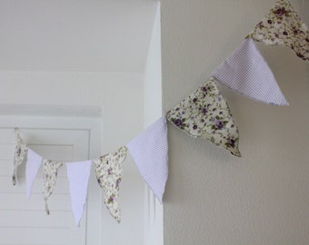 Fabric banner bunting -  spring party garland