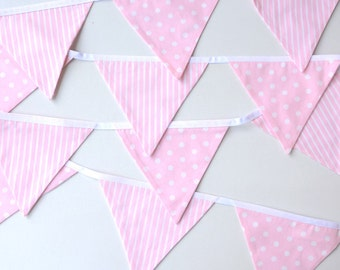 Pink nursery decor, Pink baby shower, fabric bunting, Baby girl Bunting, Girls room decoration, decoration, newborn gift, nursery bunting