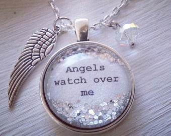 Angels watch over me, Angel necklace, wing necklace, quote jewelry, personalized jewelry, guardian angel necklace