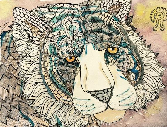 "Set of 5 Art Note Cards ""Paper Tiger"" Mixed Media Doodle Zentangle Animal Totem Shamanic"