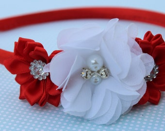 Red headbands, red and white headband, satin headband, Girls hard headband, red and white kids headband, red girls hair accessory