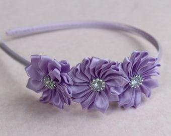 Purple hard headband, plastic headband, lavender flower girl satin headband, light purple toddler headband Girl headband purple  headband