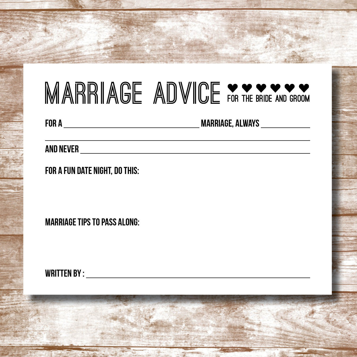 Wedding Advice: Marriage Advice Cards Packs Of 15-200