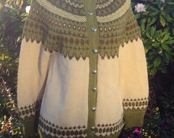 Fair Isle Norwegian wool sweater by WILLIAM SCHMIDT of Oslo-M
