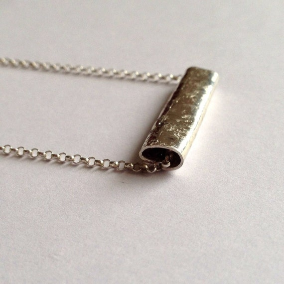 Bar Silver Necklace - Unisex Rectangle Pendant